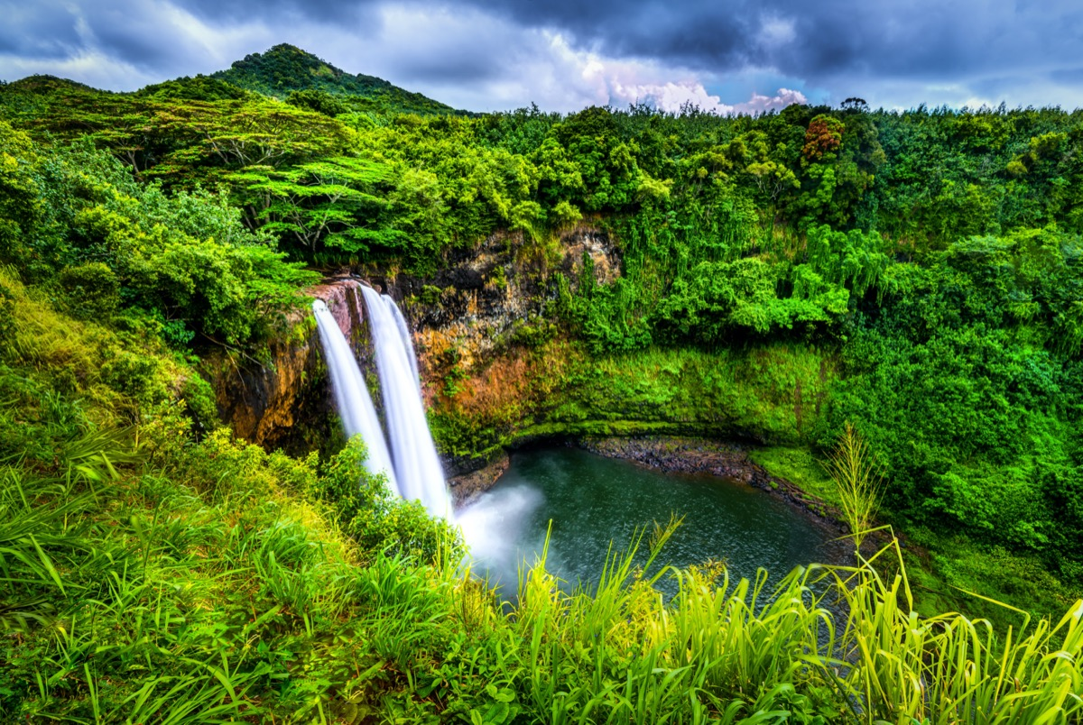 the Wailua falls and green trees in Kauai, Hawaii