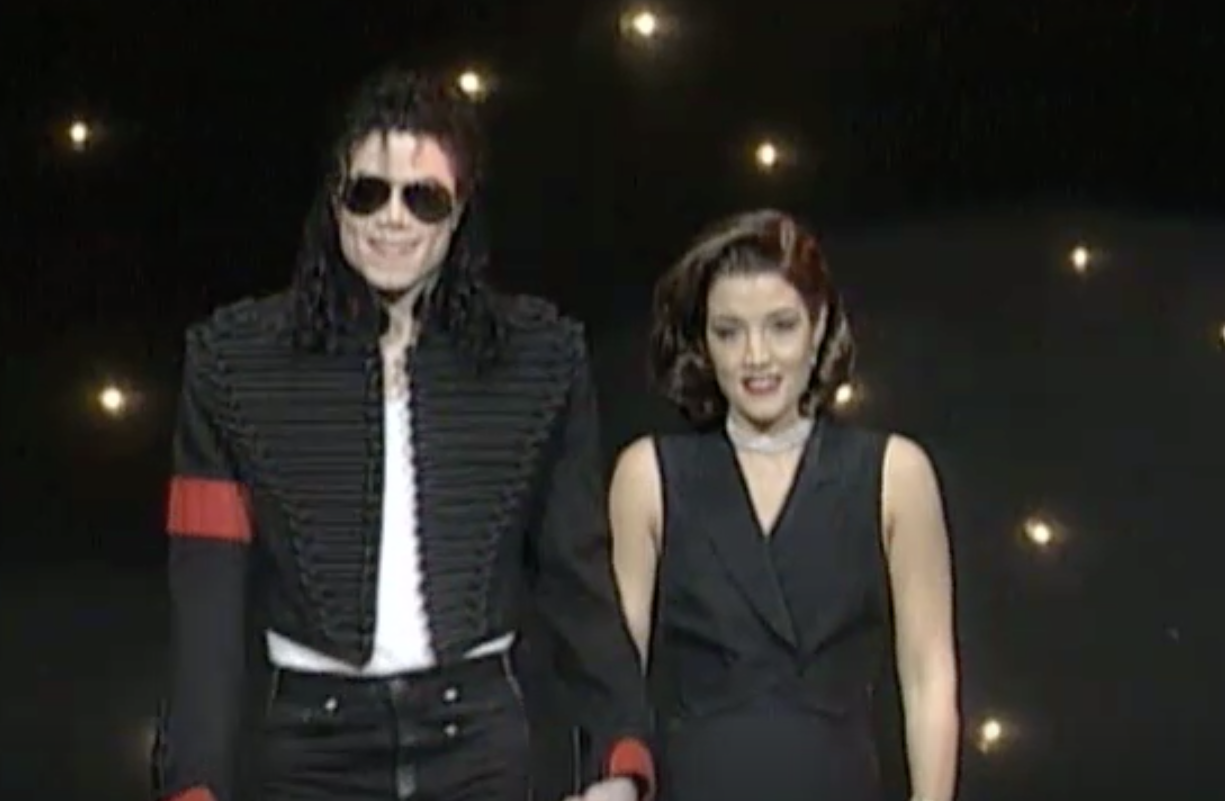 Michael Jackson and Lisa Marie Presley at the MTV music awards in 1994