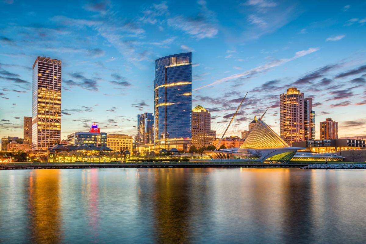 city skyline and Lake Michigan at twilight in Milwaukee, Wisconsin