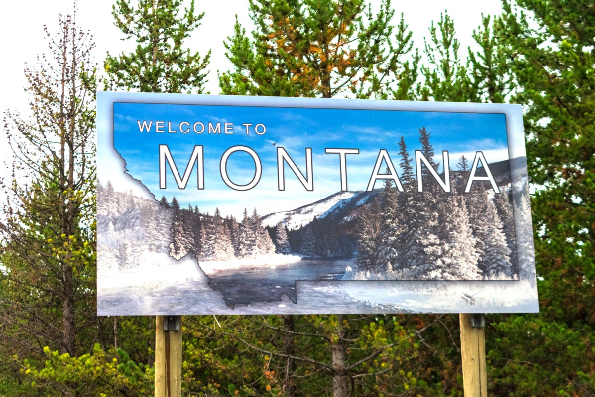 """a blue """"Welcome to Montana"""" sign in front of green trees"""
