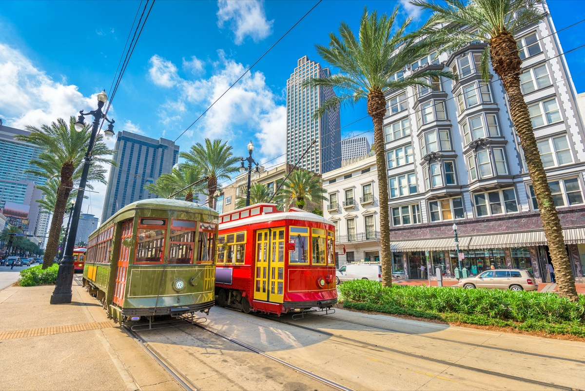 street cars in New Orleans, Louisiana in the afternoon