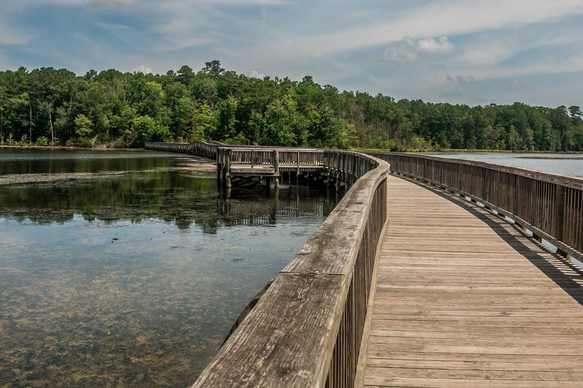 wooden bridge and beach in newport news, virginia