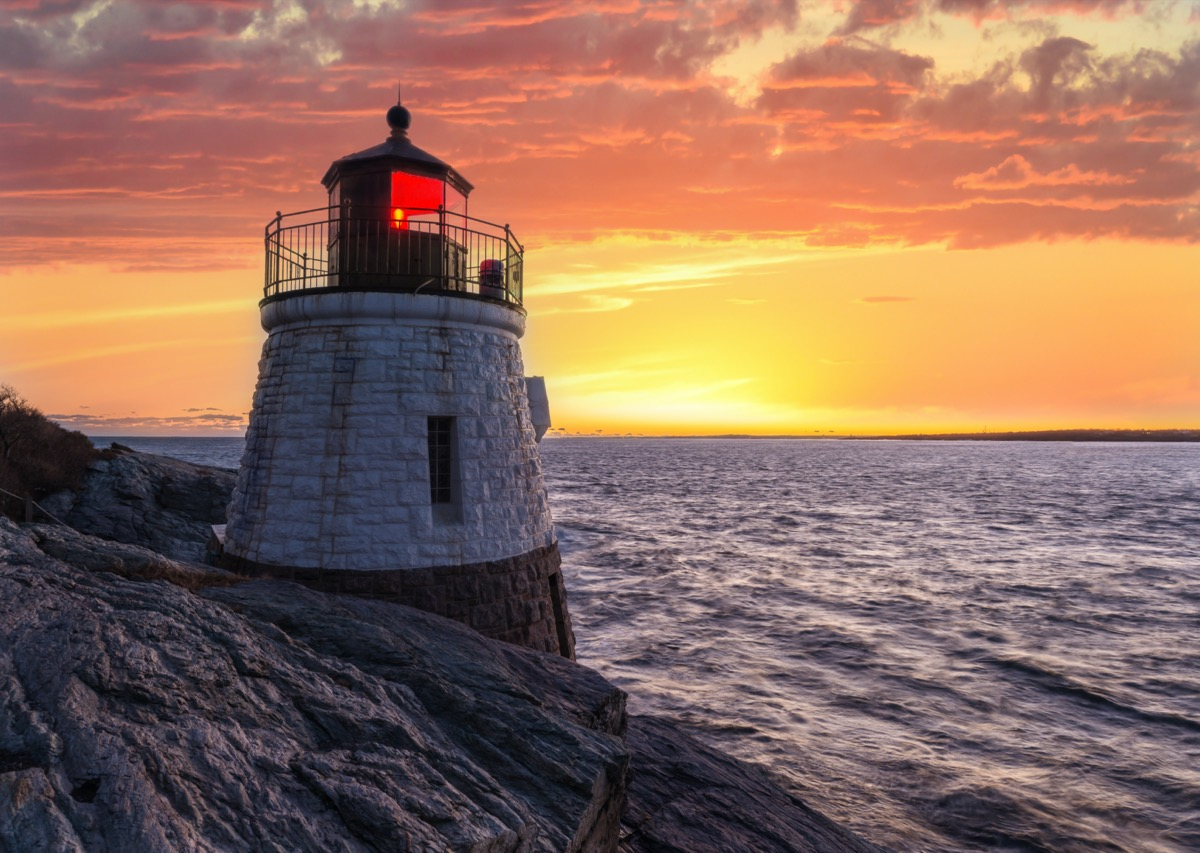 Castle Hill Lighthouse in Newport, Rhode Island at sunset