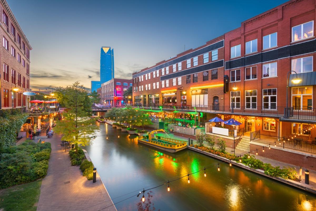 cityscape photo of Oklahoma City, Oklahoma at dusk