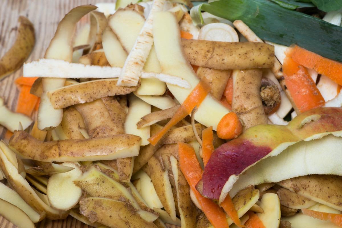 potato peels and vegetable scraps