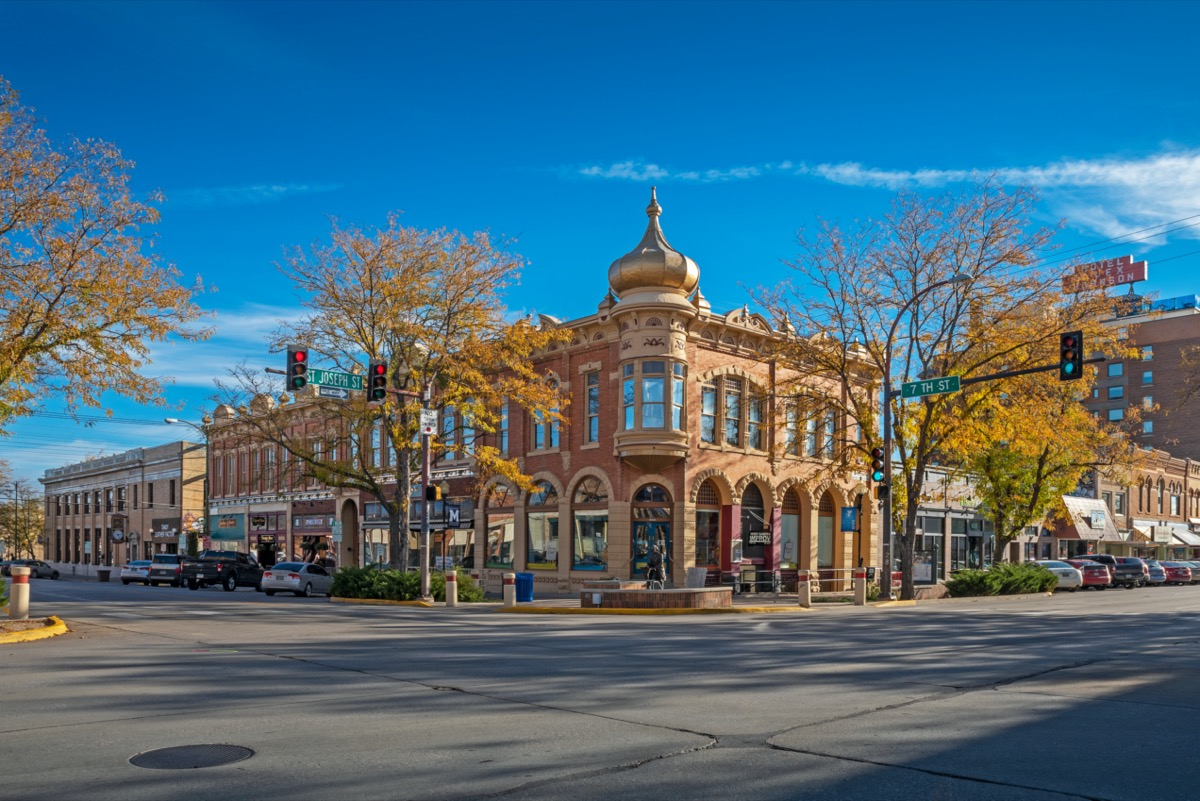 downtown area of Rapid City, South Dakota in the afternoon