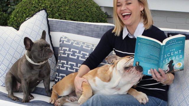 Reese Witherspoon with her dogs