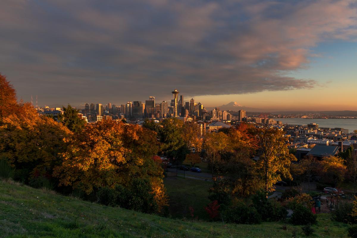 The Autumn Seattle Skyline Sunset.