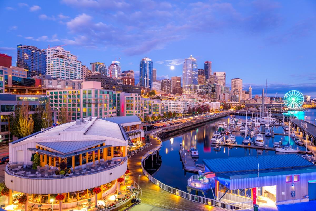 Pier 66 at dusk in downtown Seattle, Washington