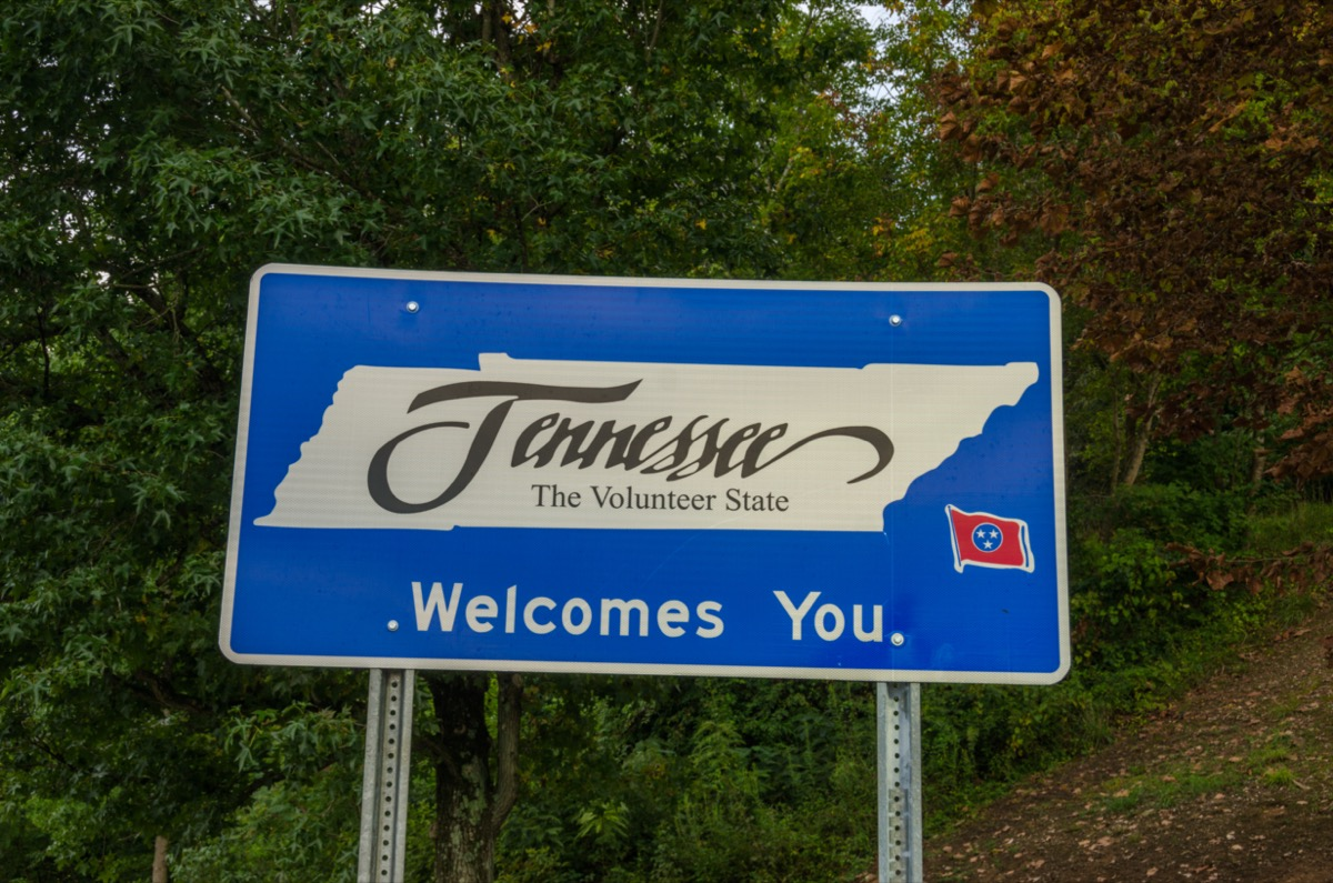 """a blue """"Tennessee Welcomes You"""" sign in front of green trees"""