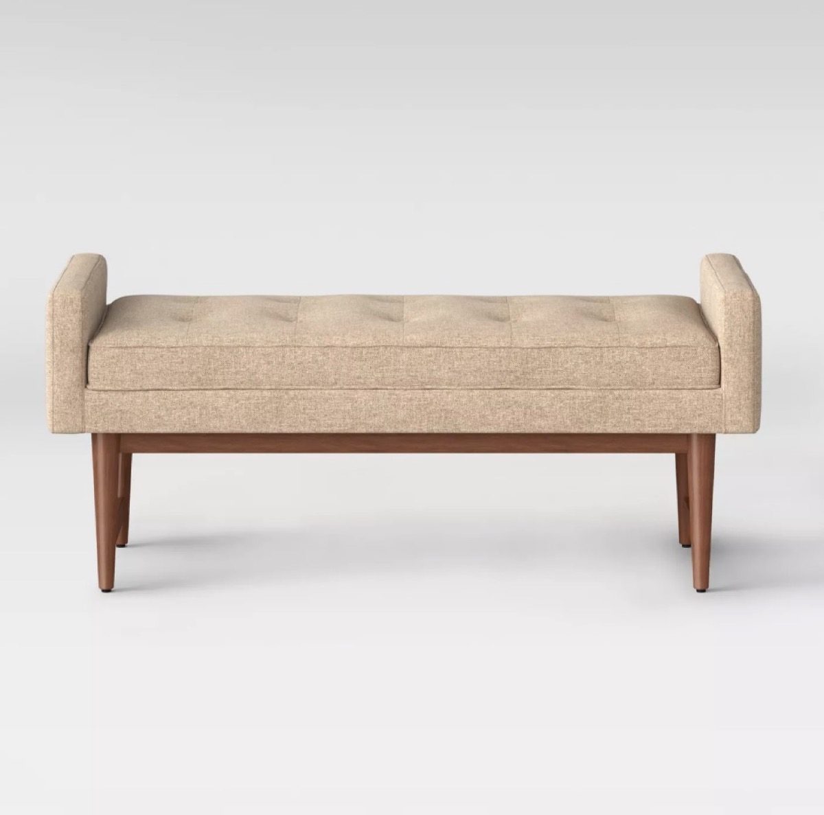 tan tufted bench
