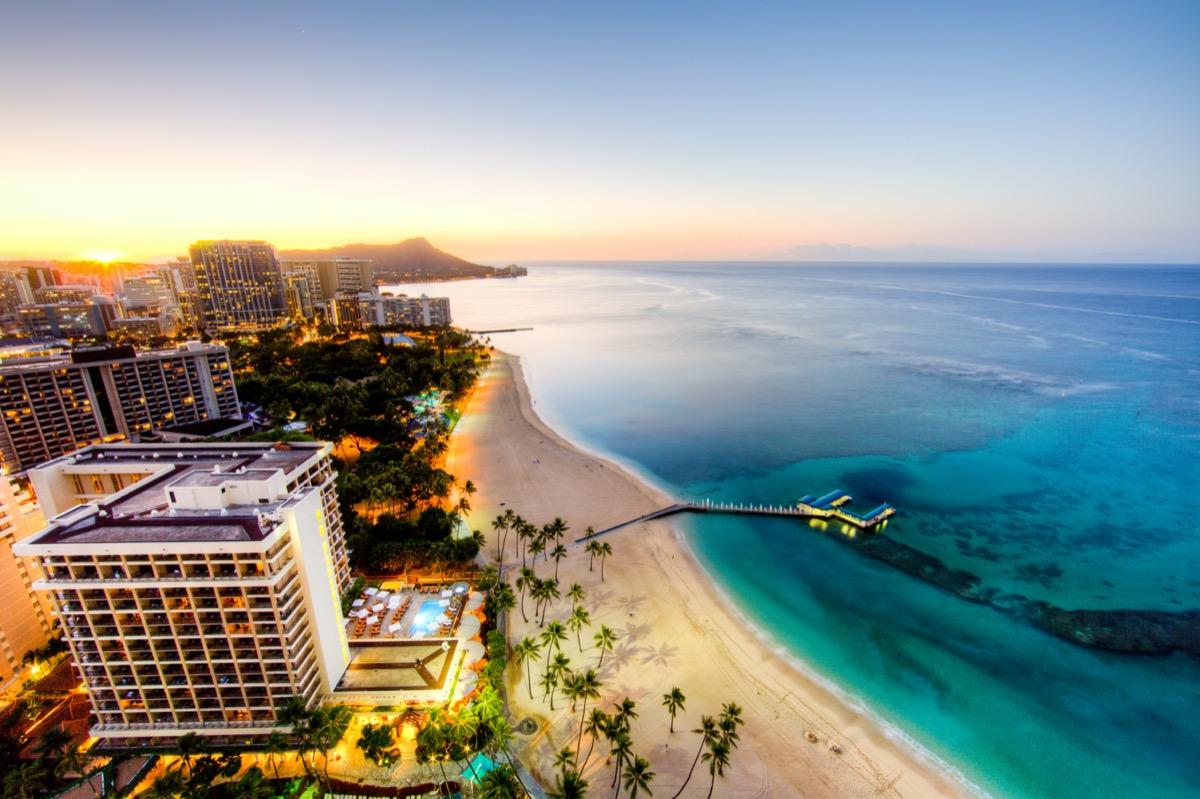 cityscape view of Waikiki, Hawaii at sunrise
