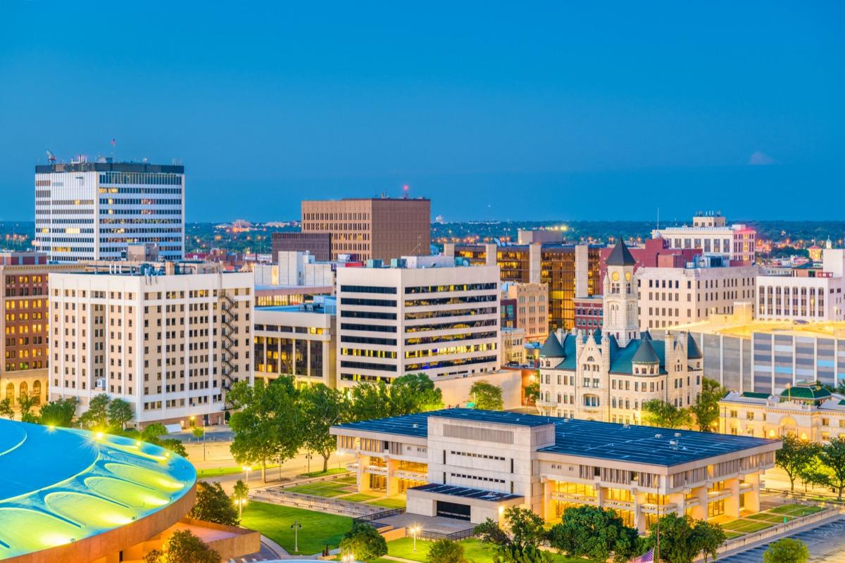 cityscape photo of Wichita, Kansas at dusk