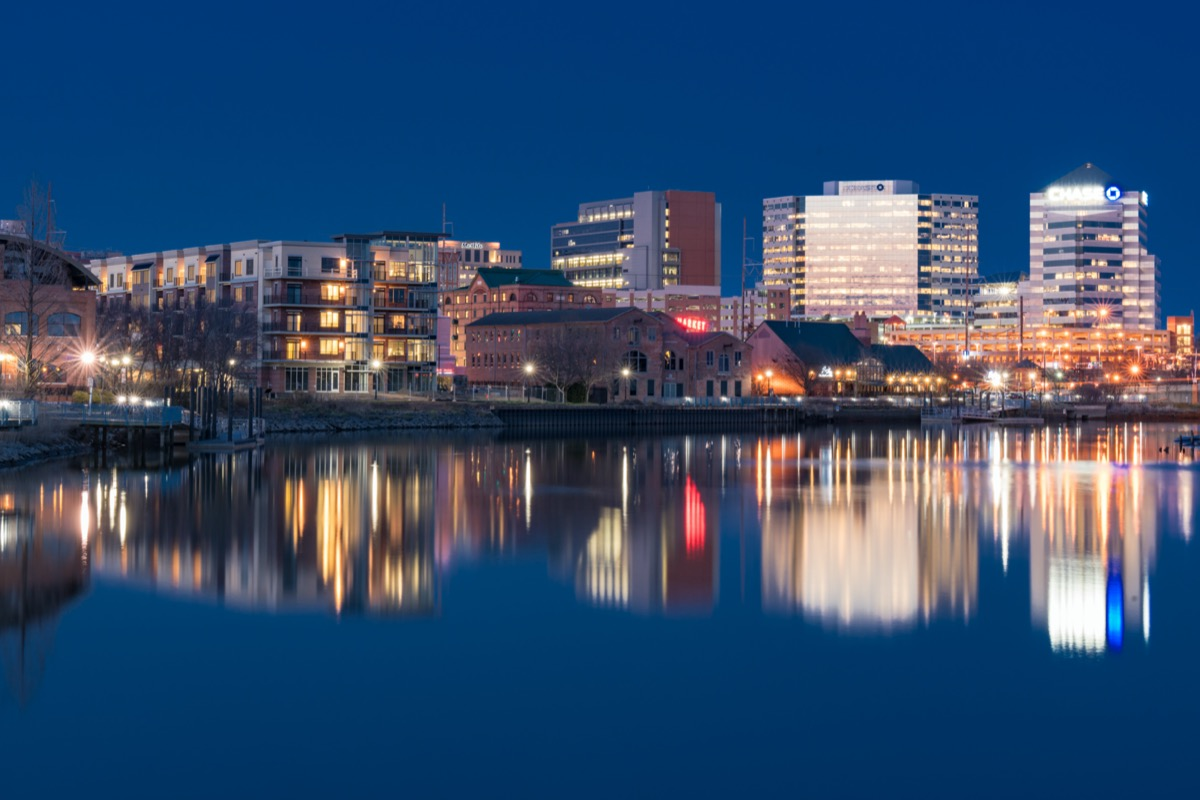 city skyline and Christiana River in Wilmington, Delaware