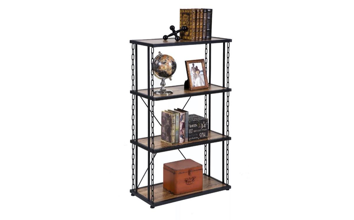 wood and metal bookshelf