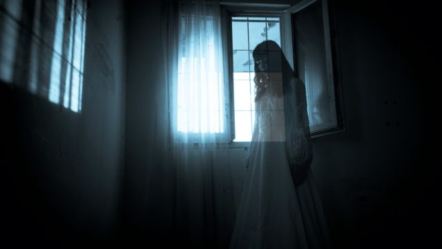 woman's ghost in front of window