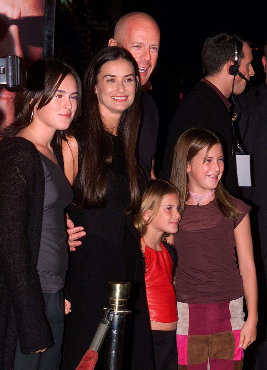 Bruce Willis and Demi Moore with daughters Rumer, Tallulah, and Scout in 2001