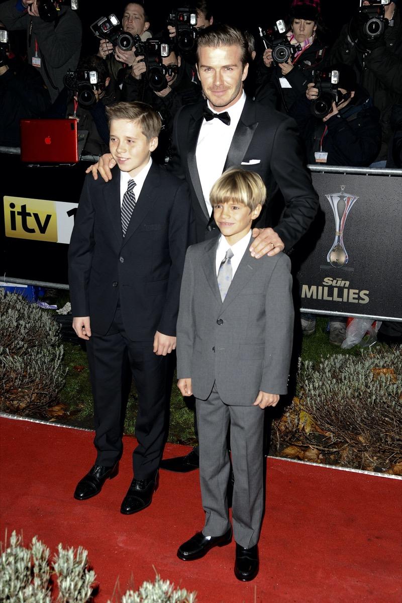 David, Romeo, and Brooklyn Beckham 2011