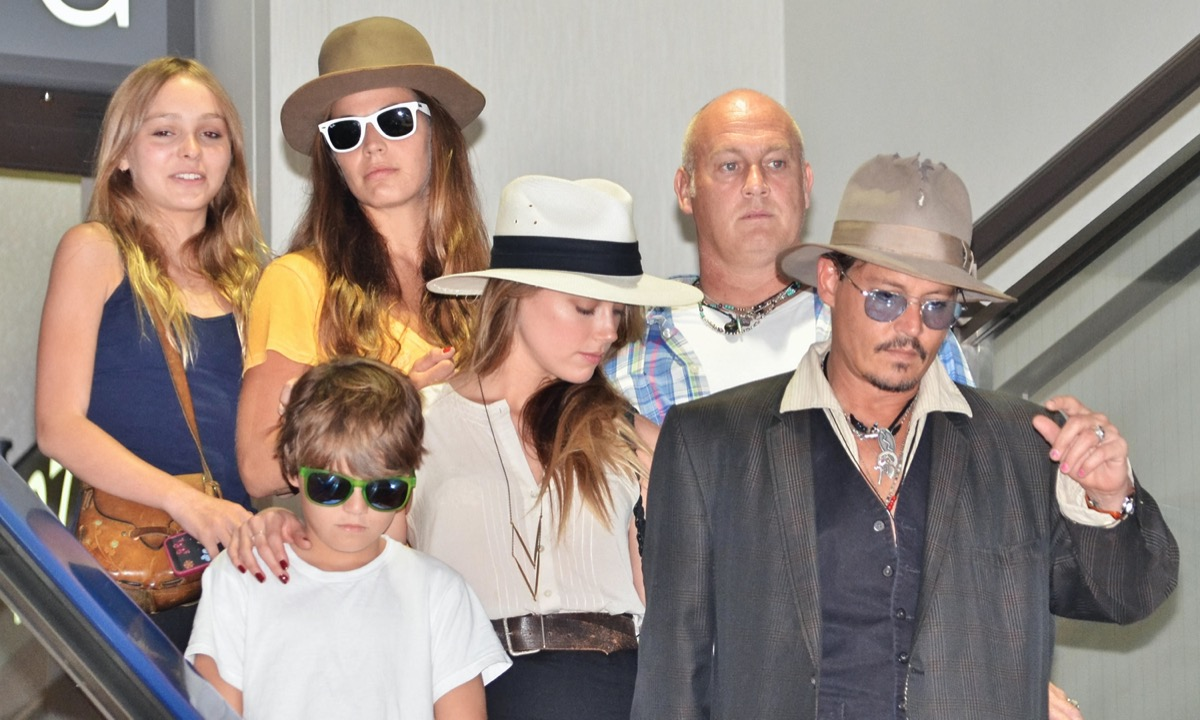 Johnny Depp with children and Amber Heard
