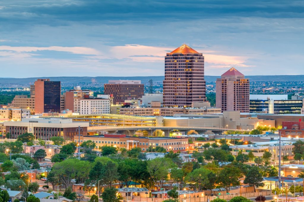 cityscape photo of buildings and trees in Albuquerque, New Mexico
