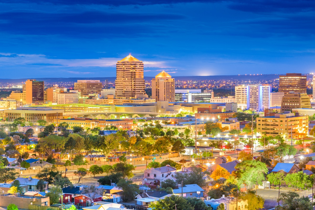 buildings in and the city skyline of downtown Albuquerque, New Mexico