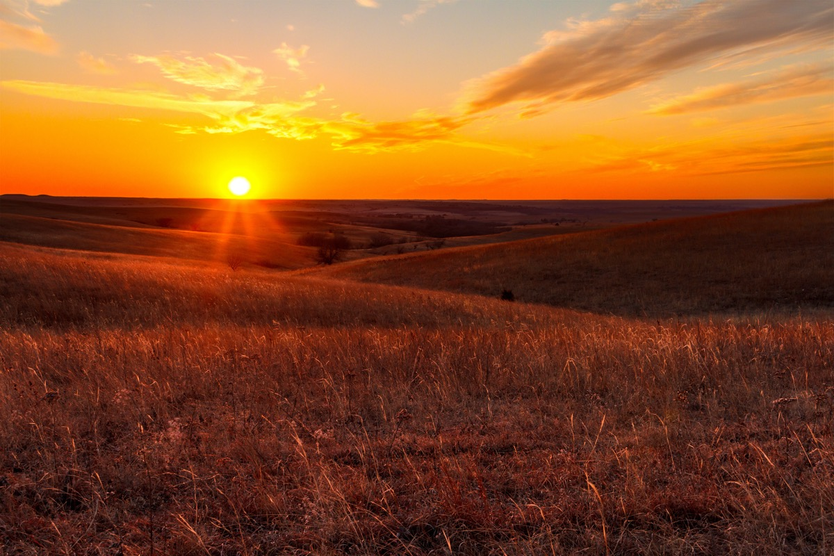 landscape photo of a field in Alma, Kansas at sunset