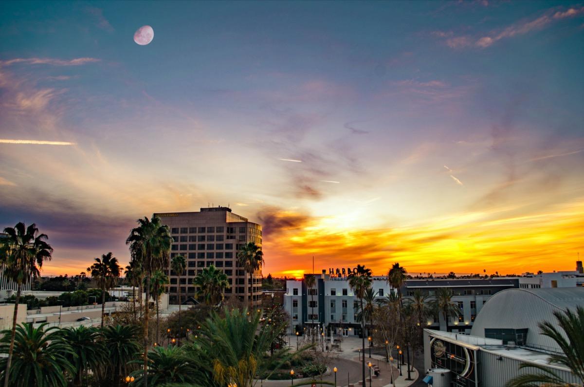 cityscape photo of Anaheim California at sunset
