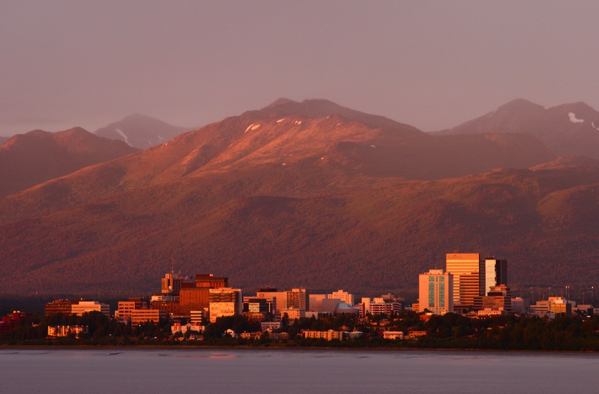 cityscape photo of mountains, buildings, and a river in Anchorage, Alaska