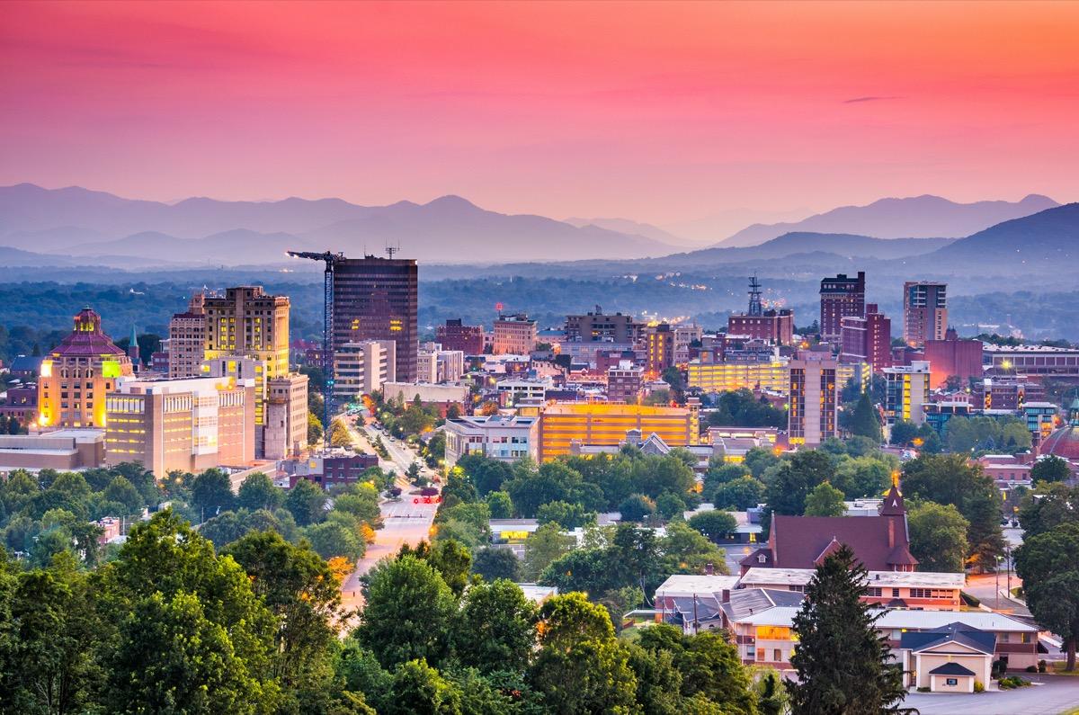 city skyline of Asheville, North Carolina at twilight