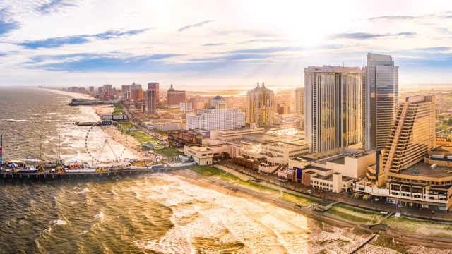 An aerial shot of the boardwalk of Atlantic City, New Jersey