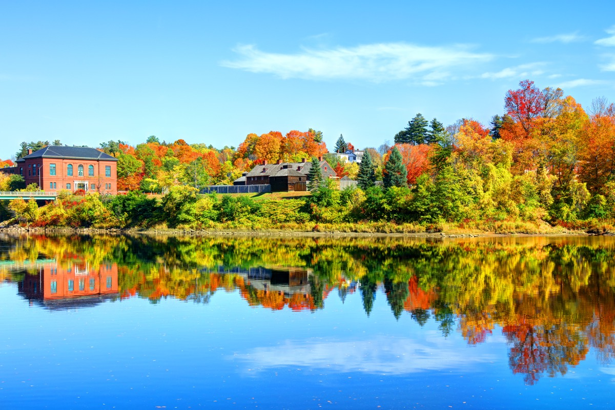 lake and autumn trees in Augusta, Maine