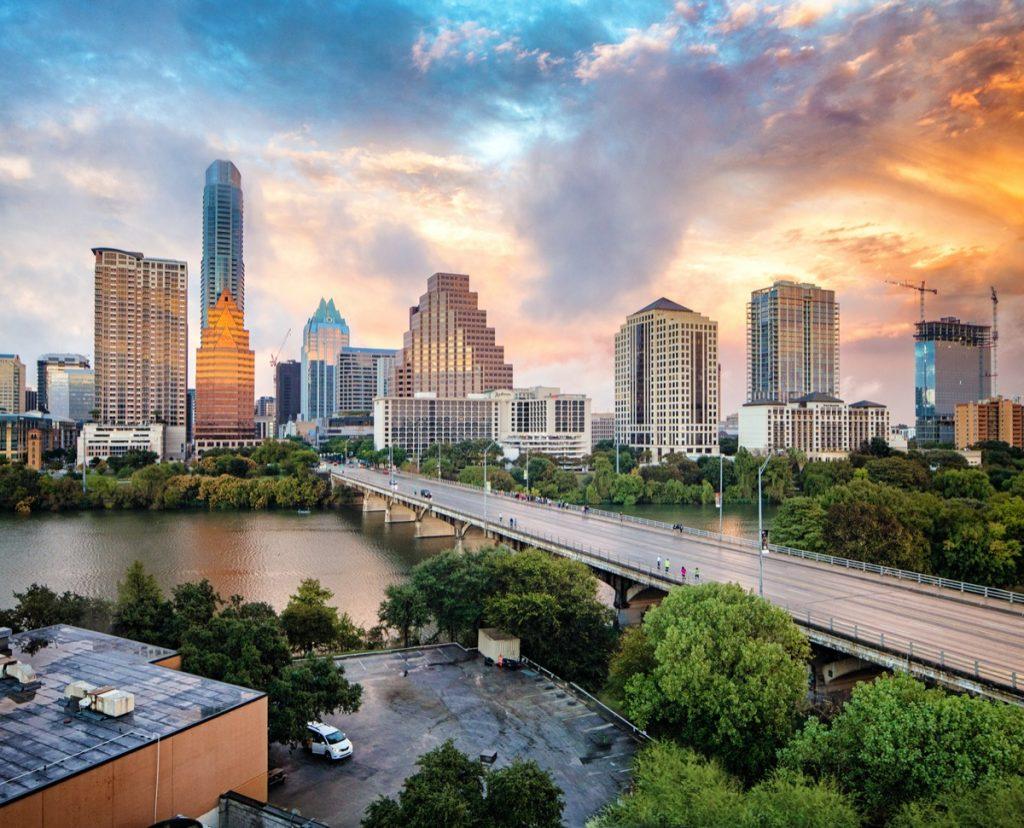 city skyline of Austin, Texas at sunset