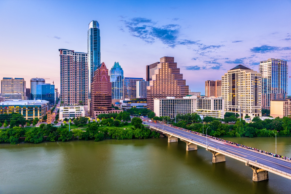 cityscape photo of buildings, highway, and lake in Austin, Texas
