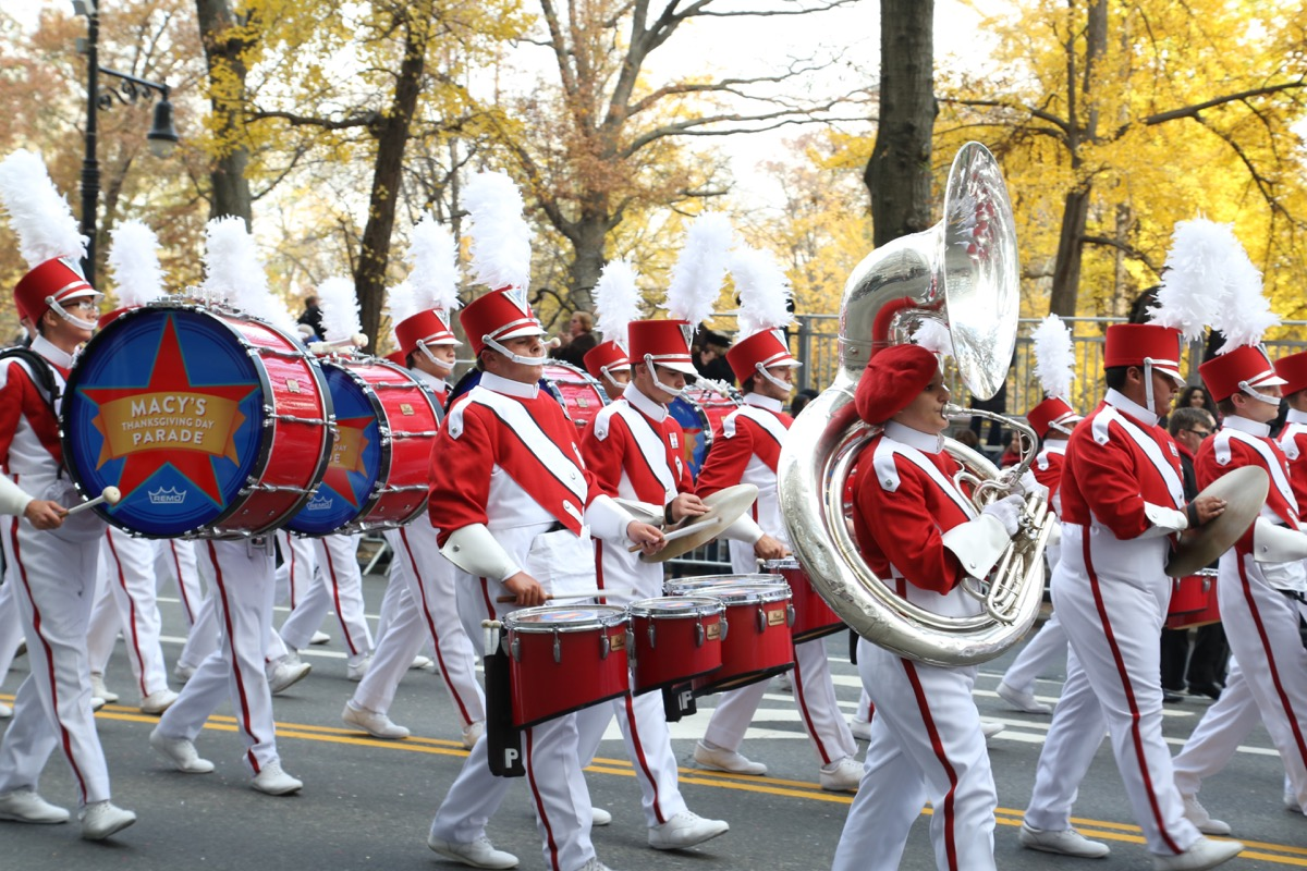 Marching band in the Macy's Thanksgiving Day Parade