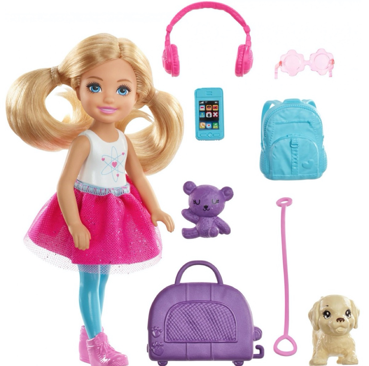 small blonde barbie doll and toy dog
