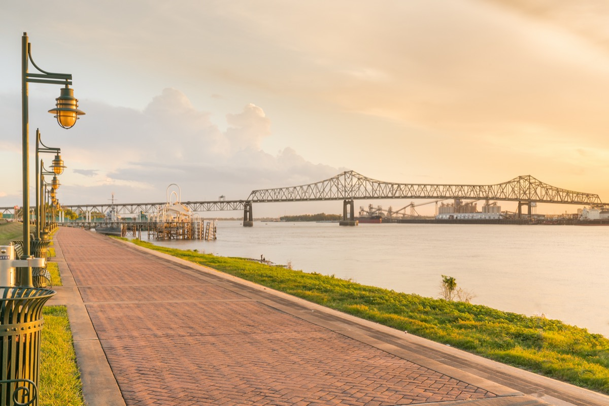 walking path along Mississippi River in Baton Rouge, Louisiana