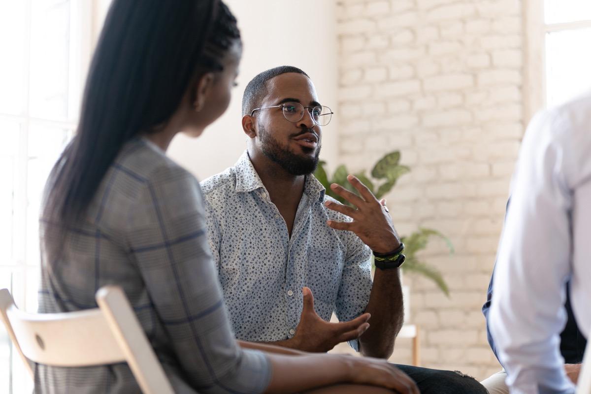 Man talking in meeting