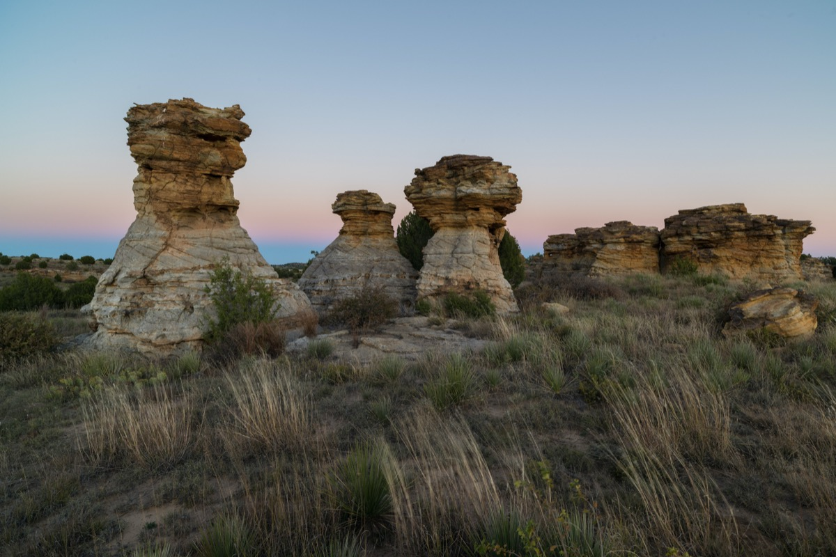 photo of rock formation, the Wedding Party, in the Black Mesa Area, Oklahoma