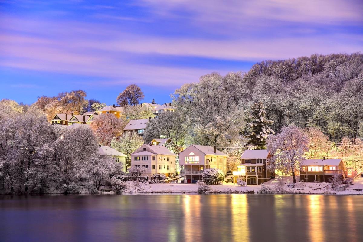 landscape photo of homes and lake in Boston, Massachusetts at dusk