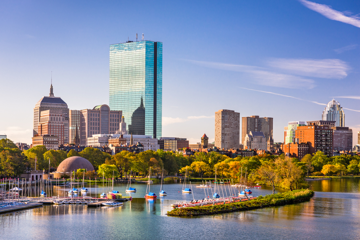 The skyline of Boston, Massachusetts as seen from the Charles River at sunset