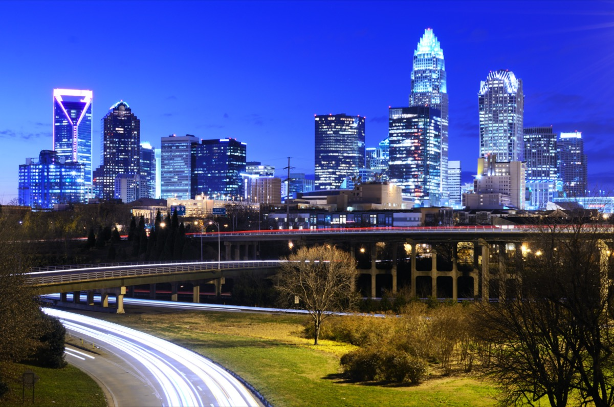 city skyline of Charlotte, North Carolina at night