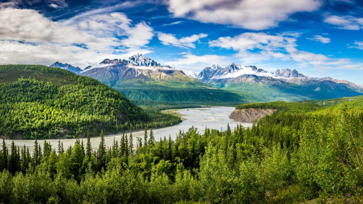 glaciers, lake, and tress in Chugach, Alaska