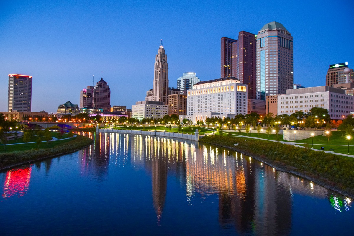 cityscape photo of downtown Columbus, Ohio at night