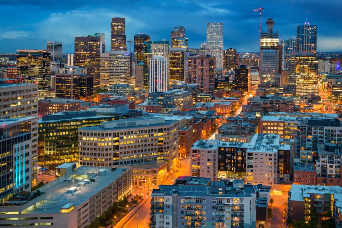 city skyline of Denver, Colorado at night