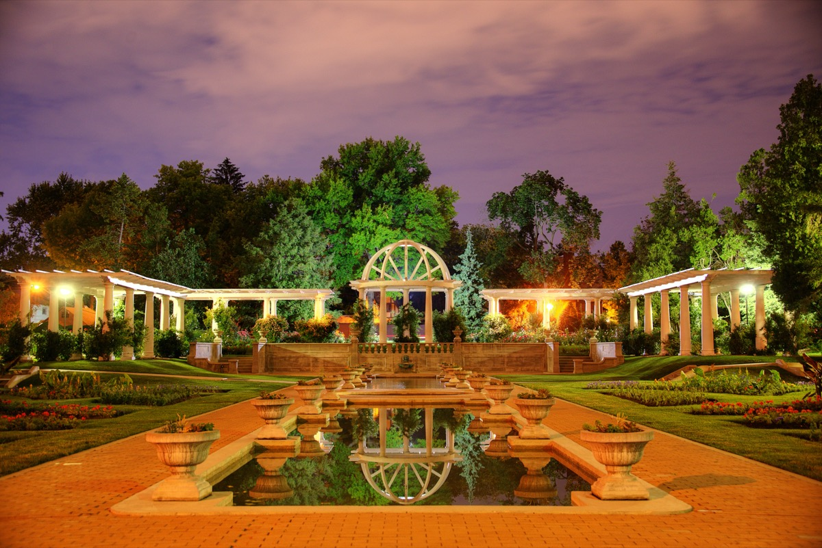 a rose garden in Lake Side Park in Fort Wayne, Indiana at night
