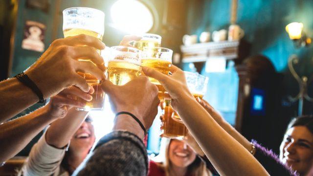 Friends drinking bar