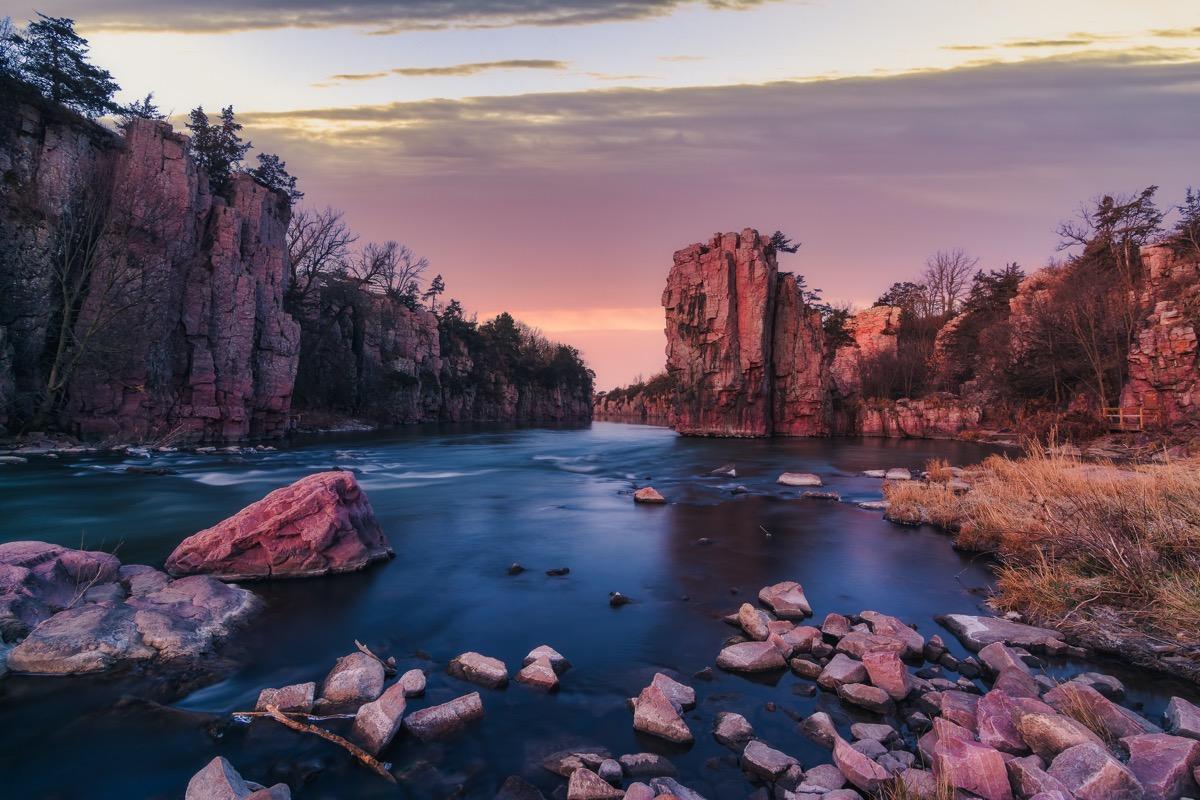 rocks reflecting a lake at Palisade State Park in Garretson, South Dakota