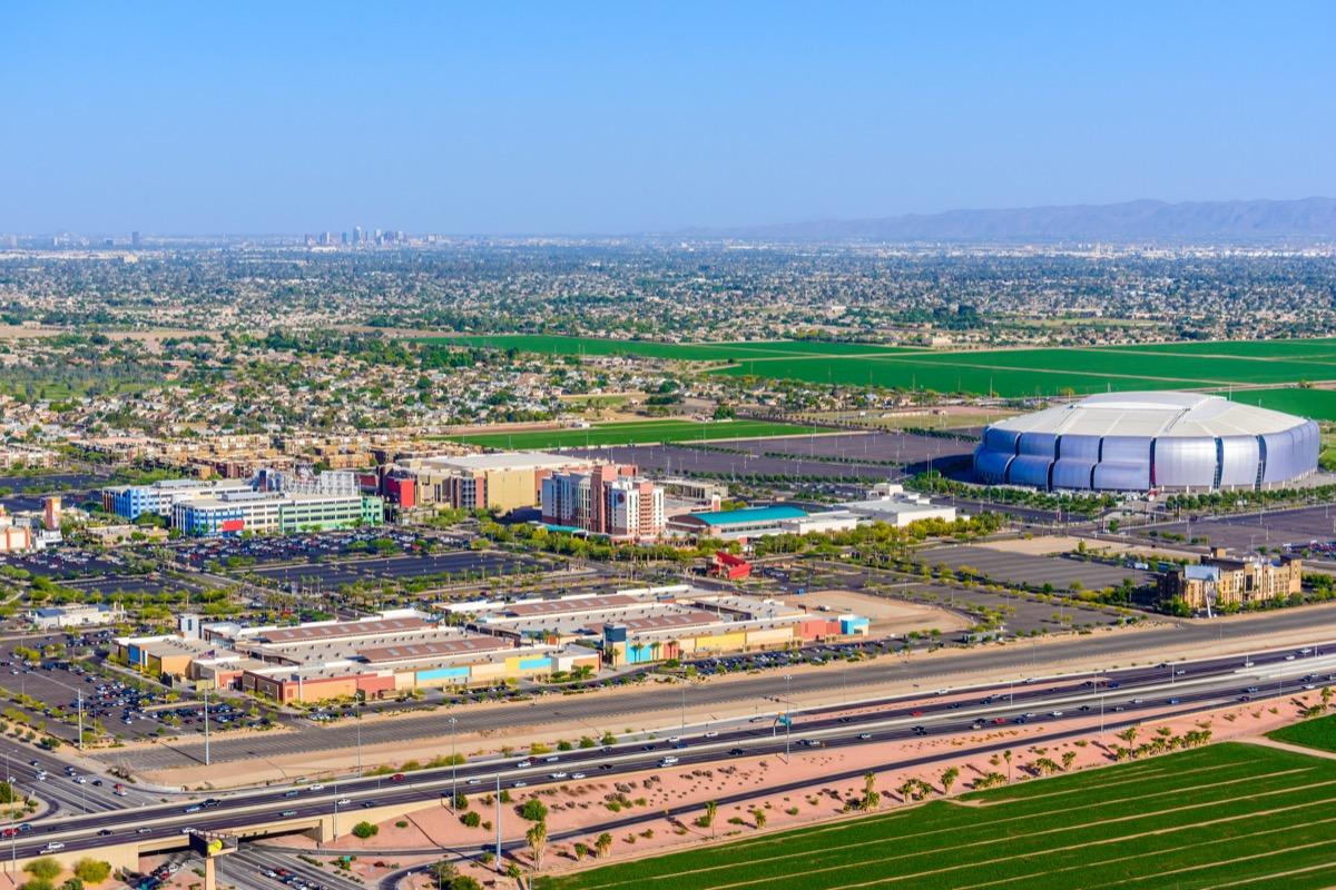 cityscape photo of University of Phoenix Stadium and downtown Glendale, Arizona