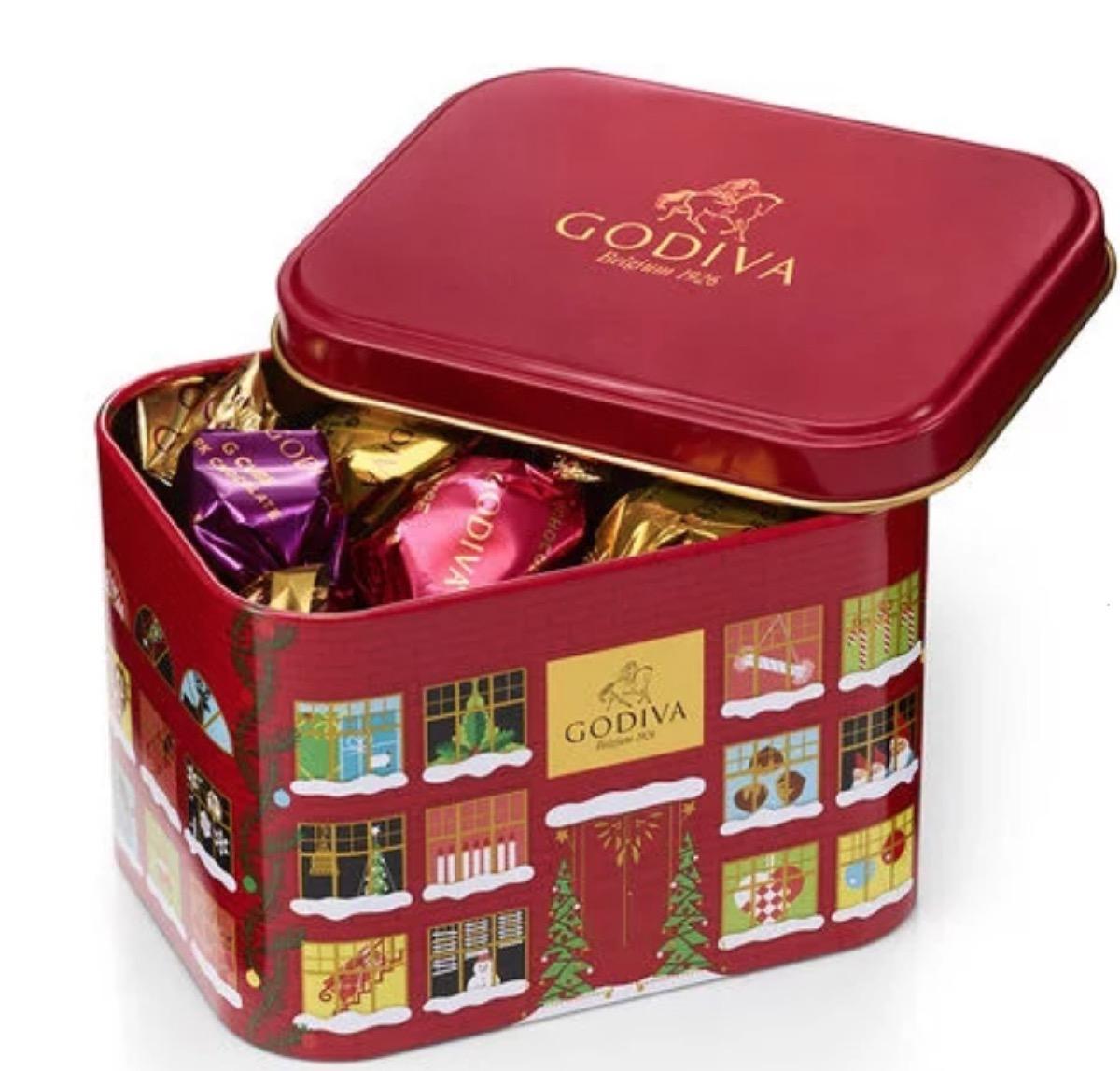 red tin of godiva chocolates
