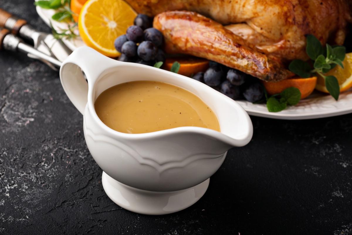 white dish of gravy